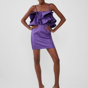 Zara Ruffled Dress  Metallic Thread Purple Sz M, L